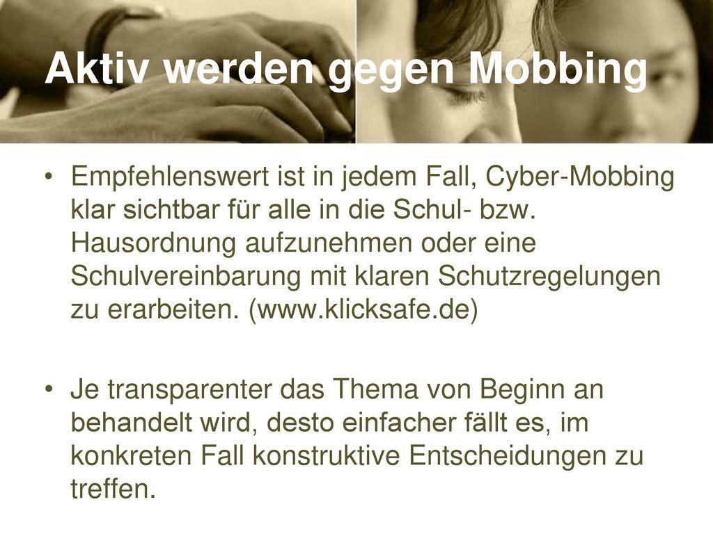 Aktiv werden gegen Mobbing