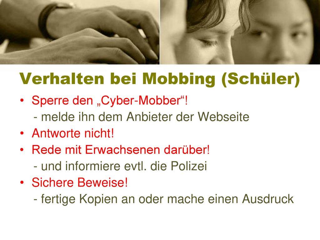 Verhalten bei Mobbing (Schüler)