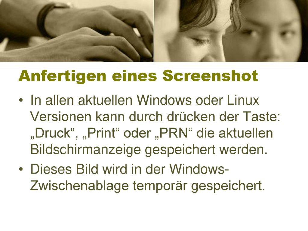 Anfertigen eines Screenshot