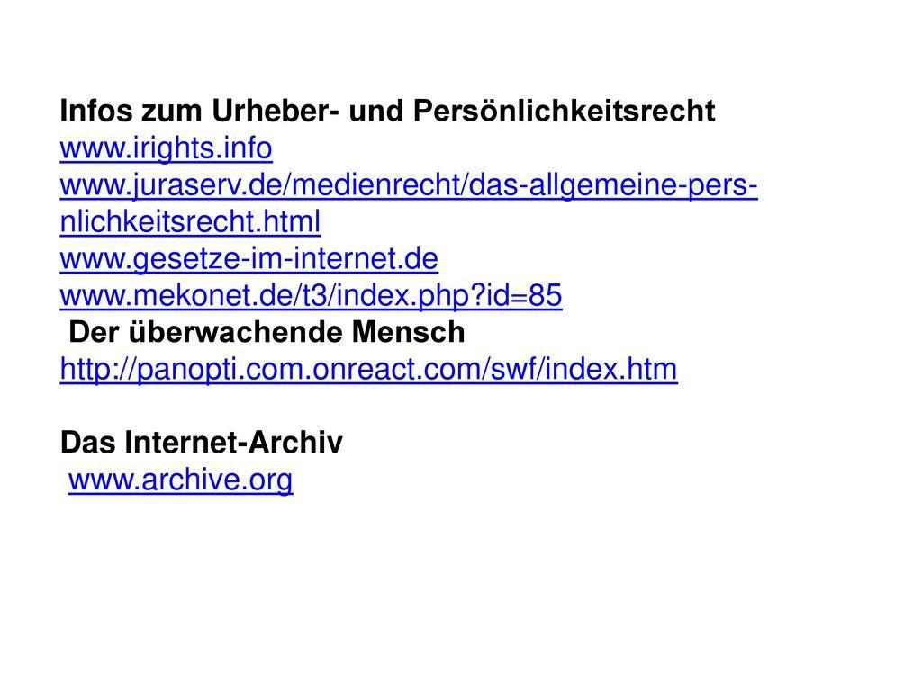 Infos zum Urheber- und Persönlichkeitsrecht www.irights.info