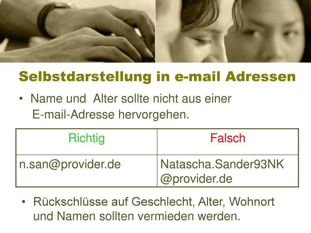 Selbstdarstellung in e-mail Adressen