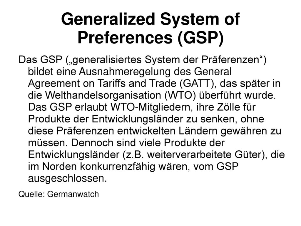 Generalized System of Preferences (GSP)