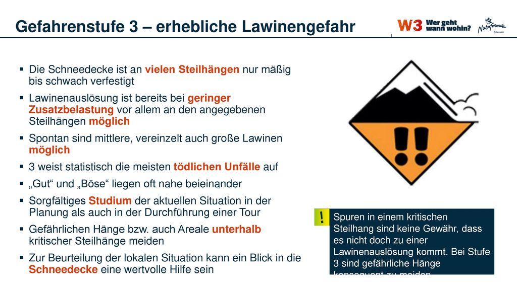 Gefahrenstufe 3 – erhebliche Lawinengefahr