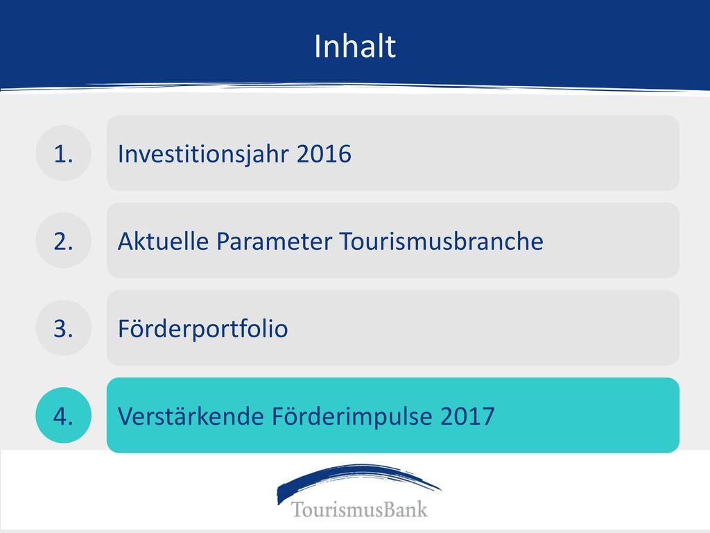 Inhalt Investitionsjahr 2016 1. Aktuelle Parameter Tourismusbranche 2.