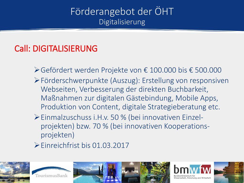 Förderangebot der ÖHT Digitalisierung
