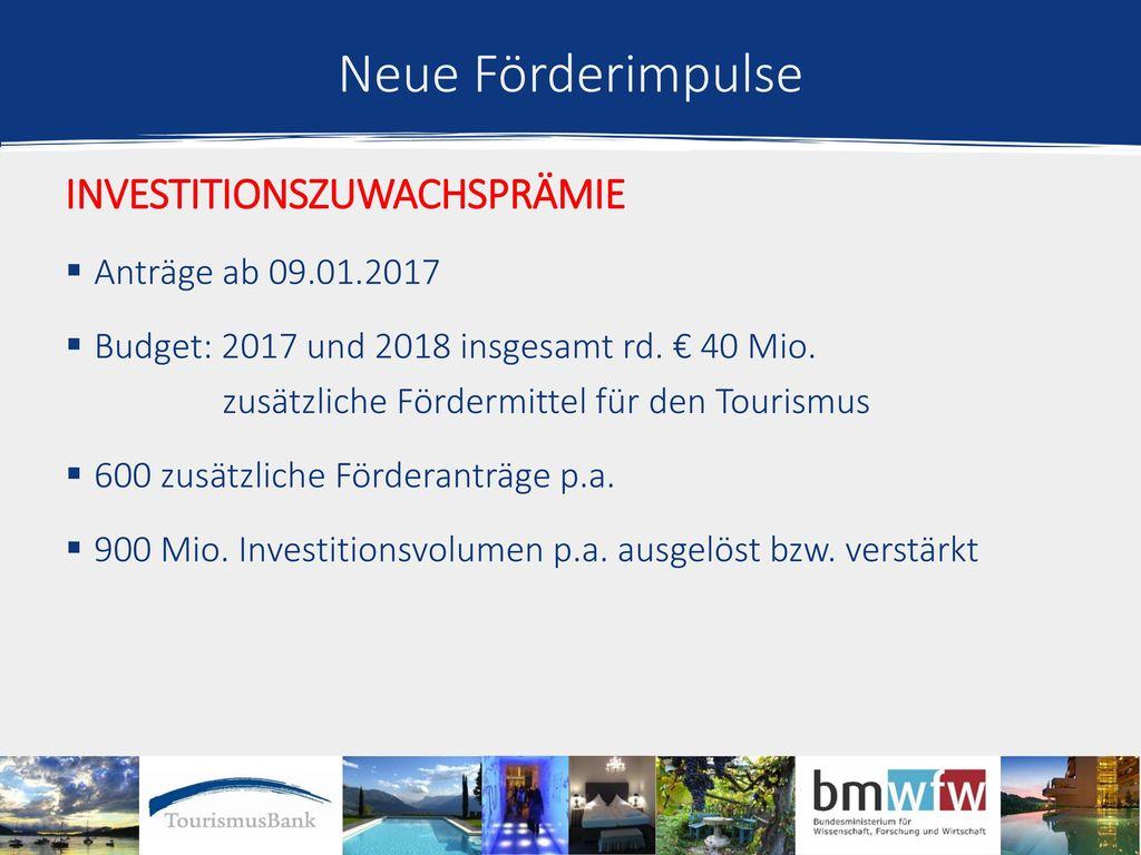Neue Förderimpulse Investitionszuwachsprämie Anträge ab 09.01.2017