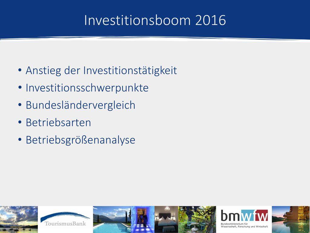 Investitionsboom 2016 Anstieg der Investitionstätigkeit