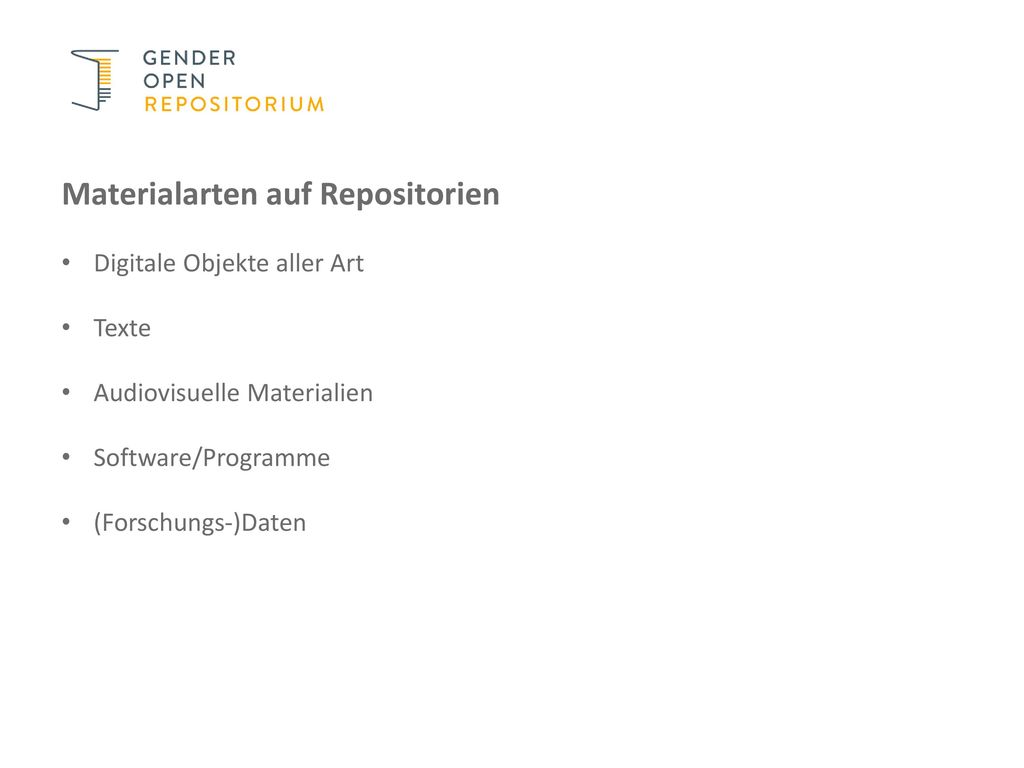 Materialarten auf Repositorien