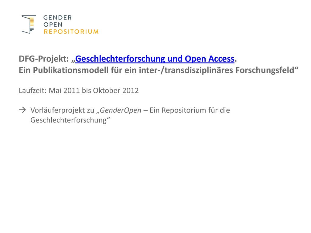 """DFG-Projekt: """"Geschlechterforschung und Open Access."""