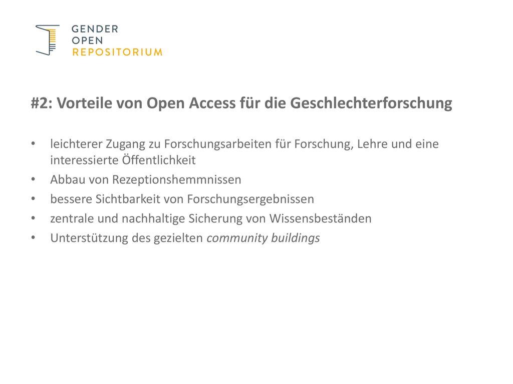 #2: Vorteile von Open Access für die Geschlechterforschung