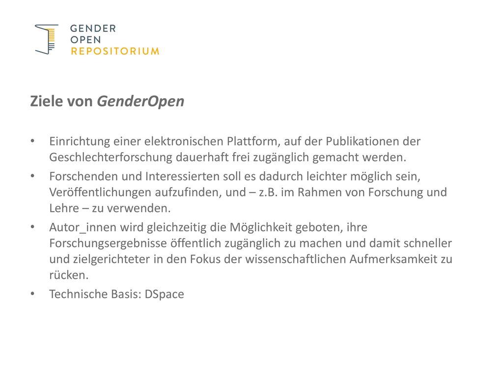 Ziele von GenderOpen