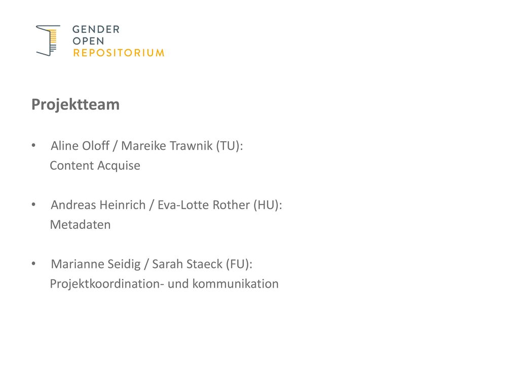 Projektteam Aline Oloff / Mareike Trawnik (TU): Content Acquise