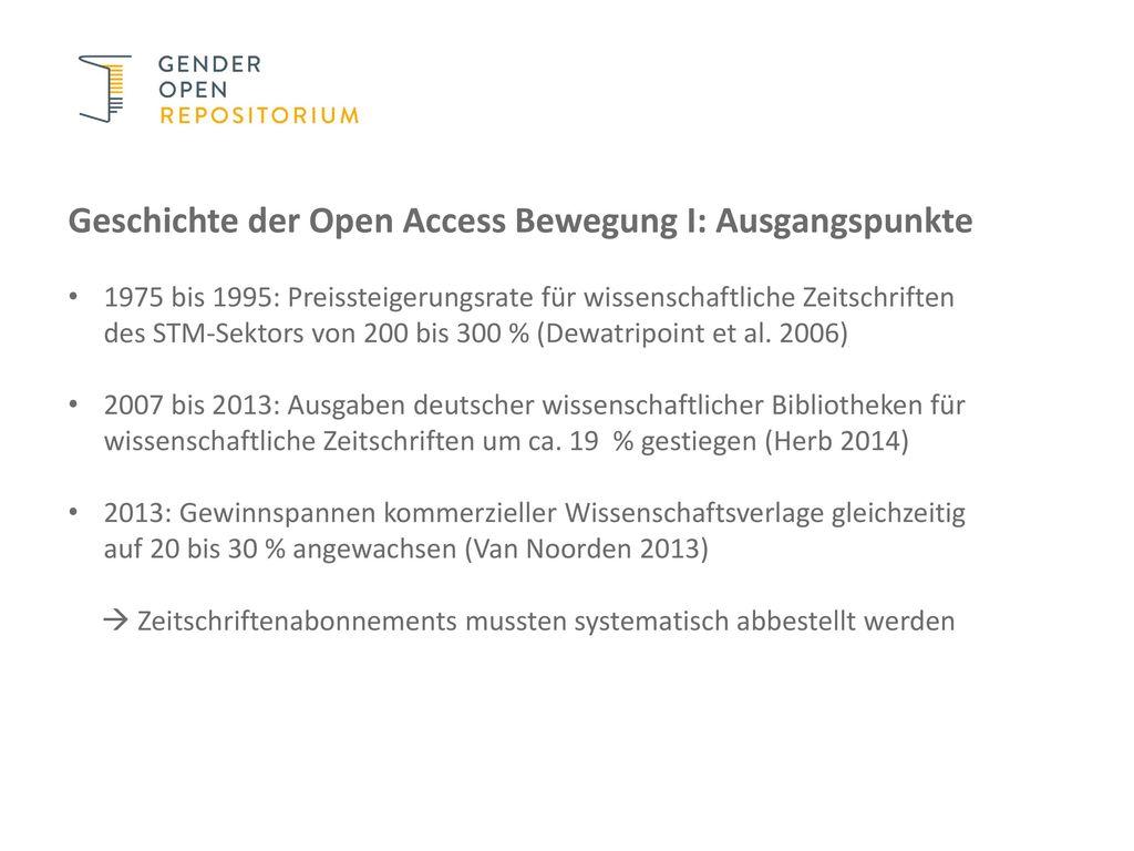 Geschichte der Open Access Bewegung I: Ausgangspunkte