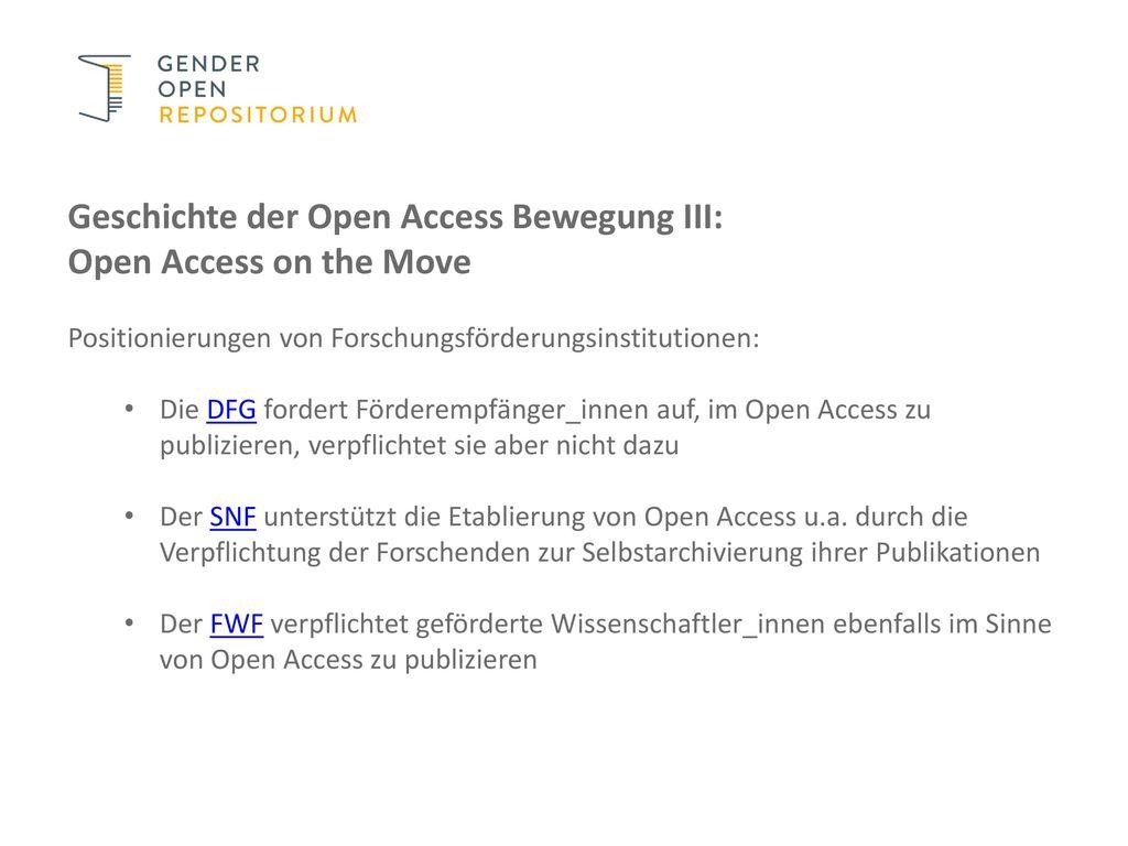 Geschichte der Open Access Bewegung III: Open Access on the Move