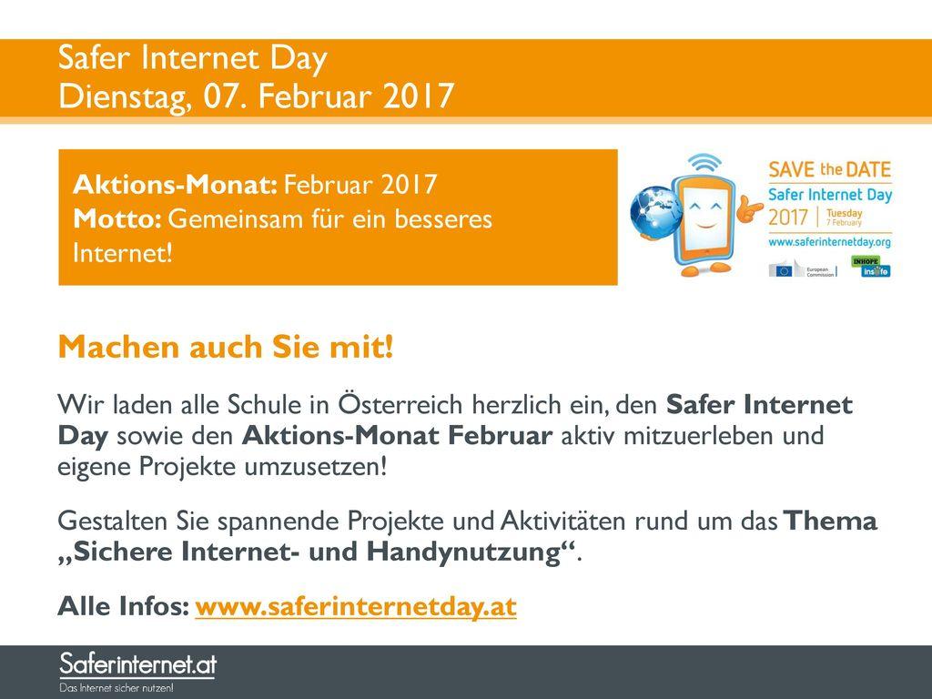 Safer Internet Day Dienstag, 07. Februar 2017