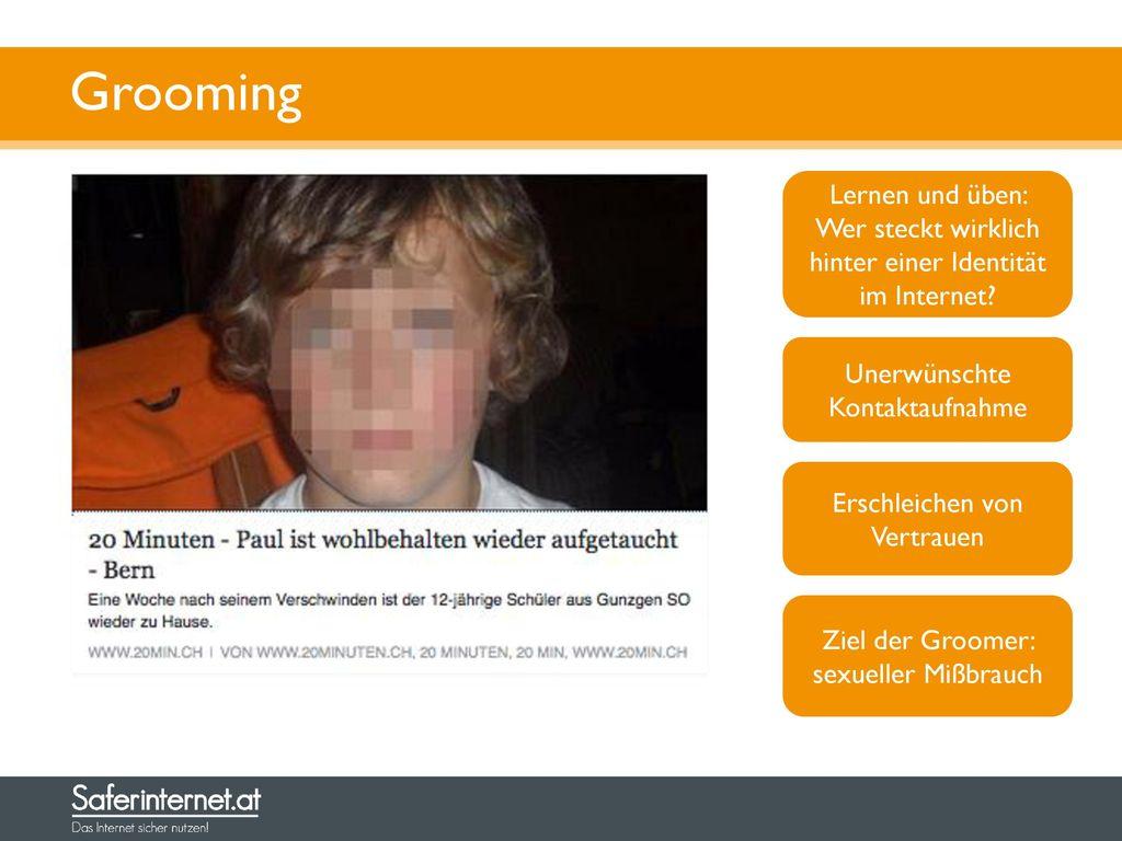 Grooming Lernen und üben: Wer steckt wirklich hinter einer Identität im Internet Unerwünschte Kontaktaufnahme.