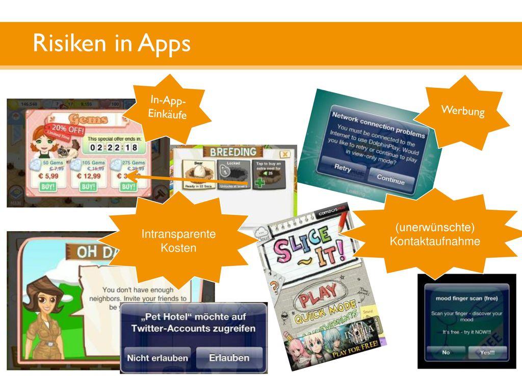 Risiken in Apps In-App-Einkäufe Werbung (unerwünschte) Kontaktaufnahme
