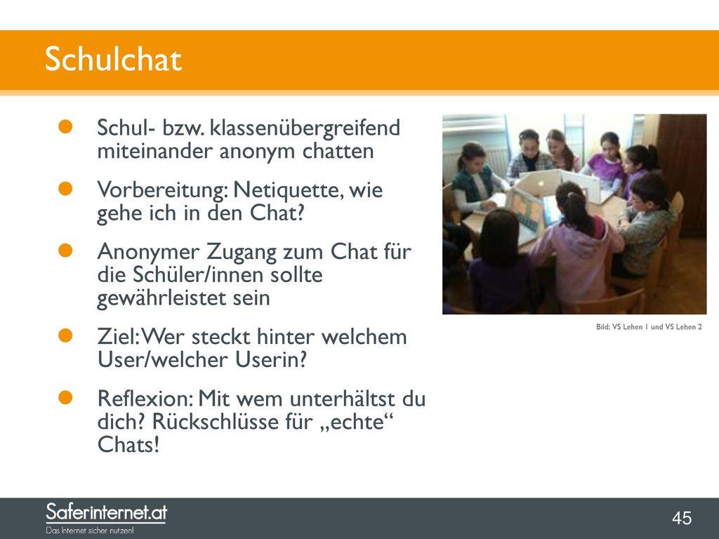 Schulchat Schul- bzw. klassenübergreifend miteinander anonym chatten