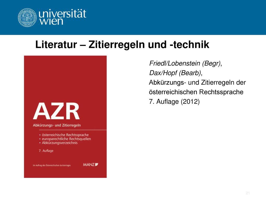 Literatur – Zitierregeln und -technik