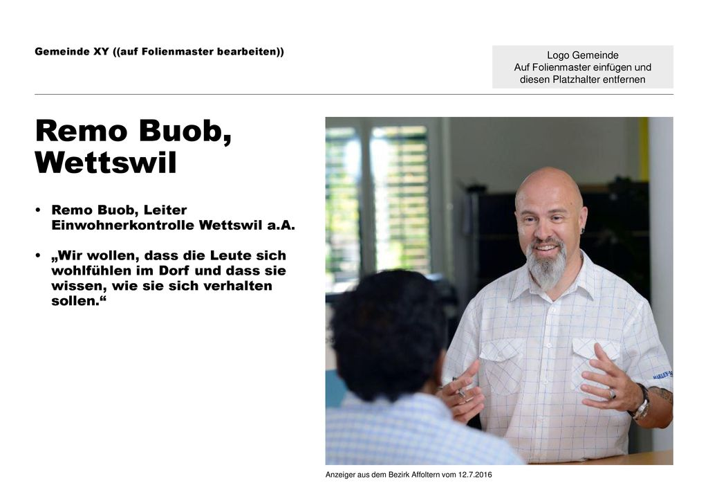 Remo Buob, Wettswil Remo Buob, Leiter Einwohnerkontrolle Wettswil a.A.