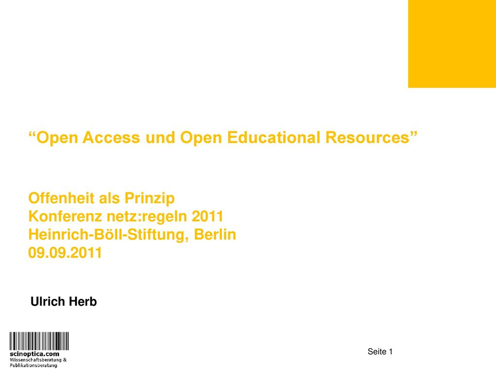 Open Access und Open Educational Resources