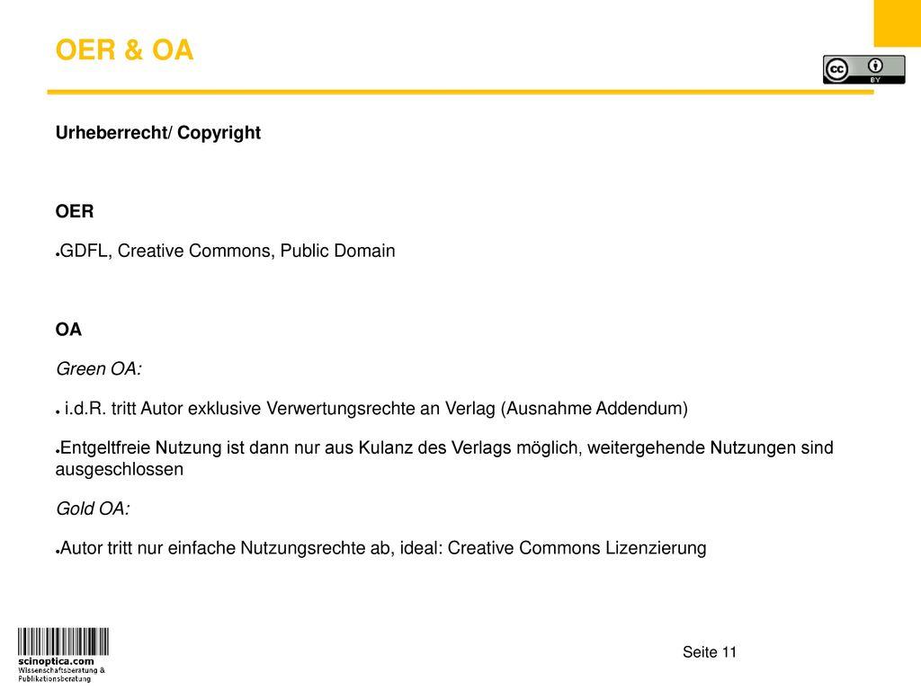 OER & OA Urheberrecht/ Copyright OER