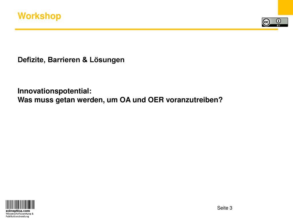 Workshop Defizite, Barrieren & Lösungen