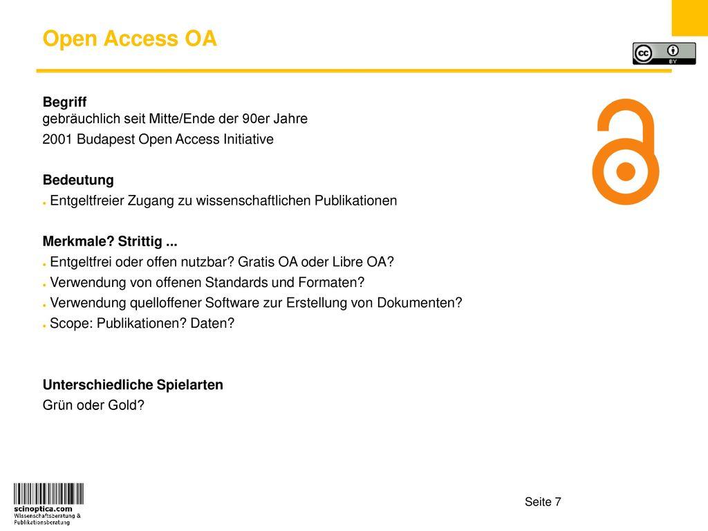 Open Access OA Begriff gebräuchlich seit Mitte/Ende der 90er Jahre
