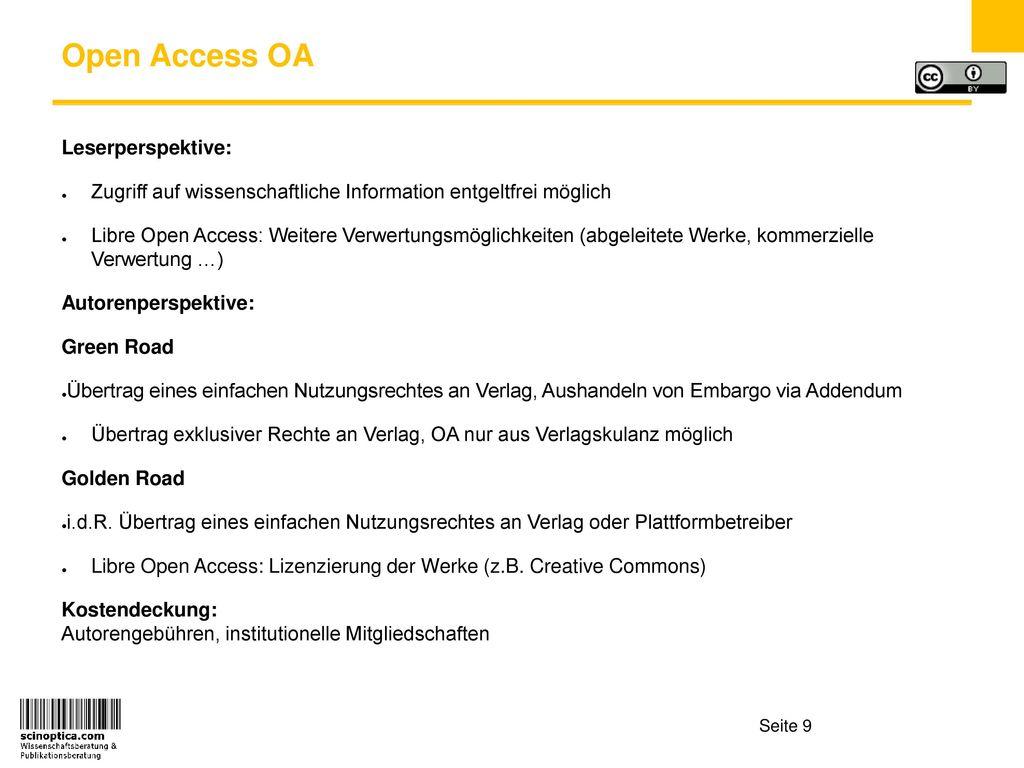 Open Access OA Leserperspektive: