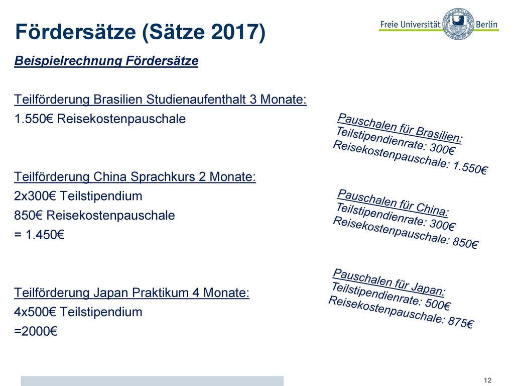 Fördersätze (Sätze 2017) Beispielrechnung Fördersätze