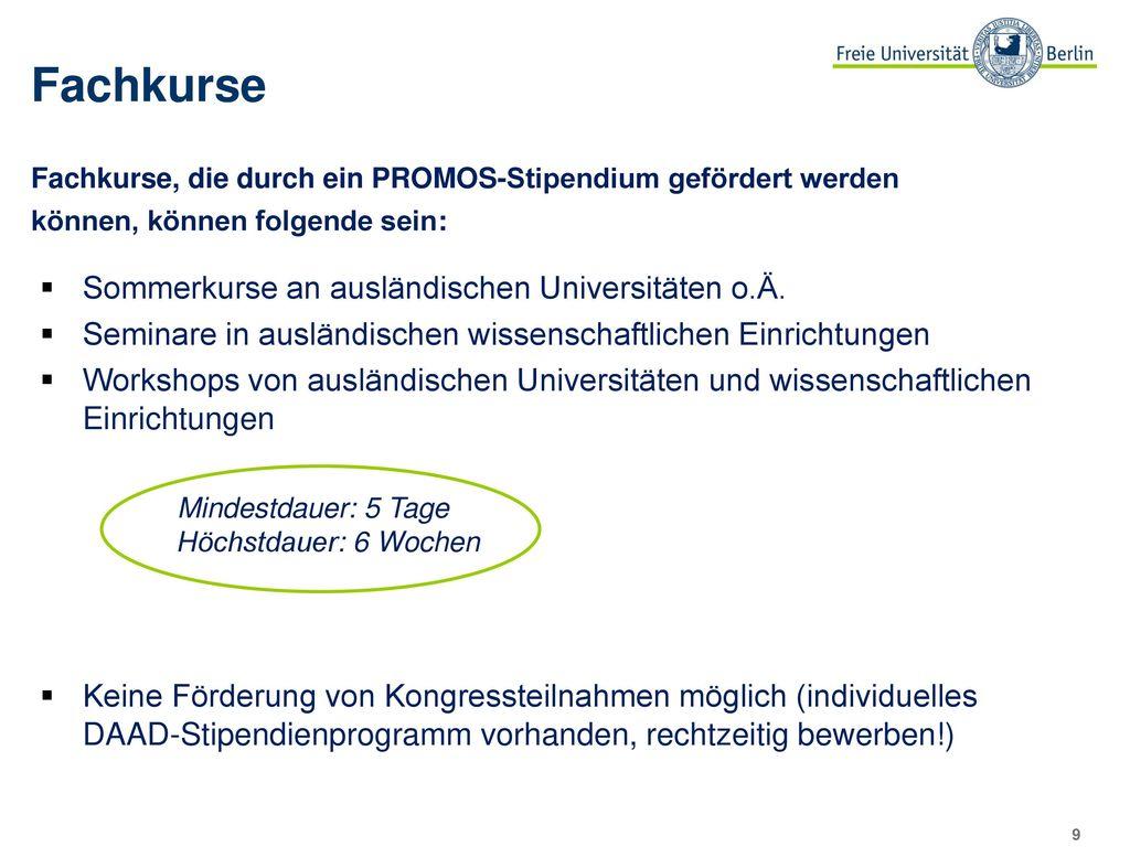 Fachkurse Sommerkurse an ausländischen Universitäten o.Ä.