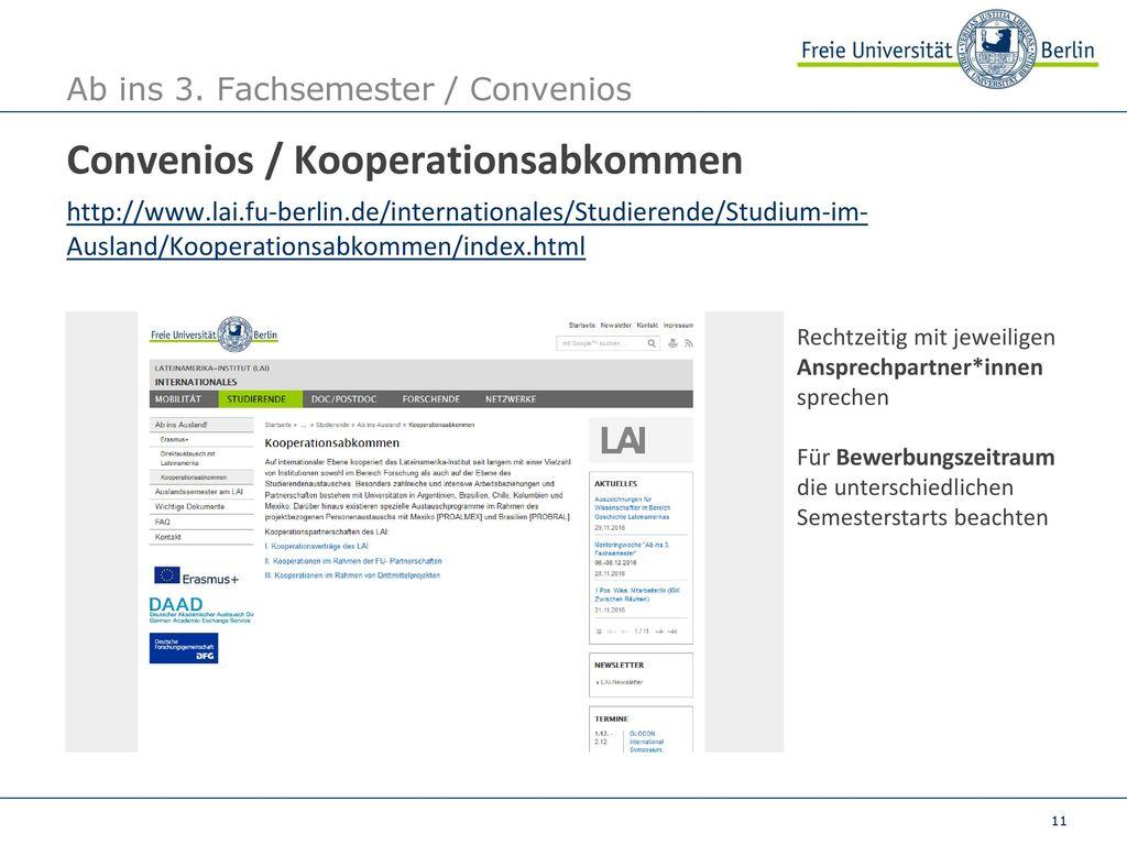 Ab ins 3. Fachsemester / Convenios