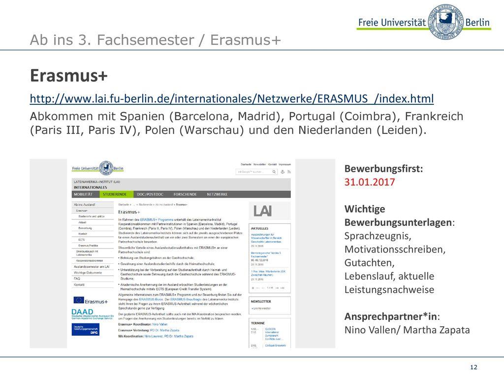 Ab ins 3. Fachsemester / Erasmus+