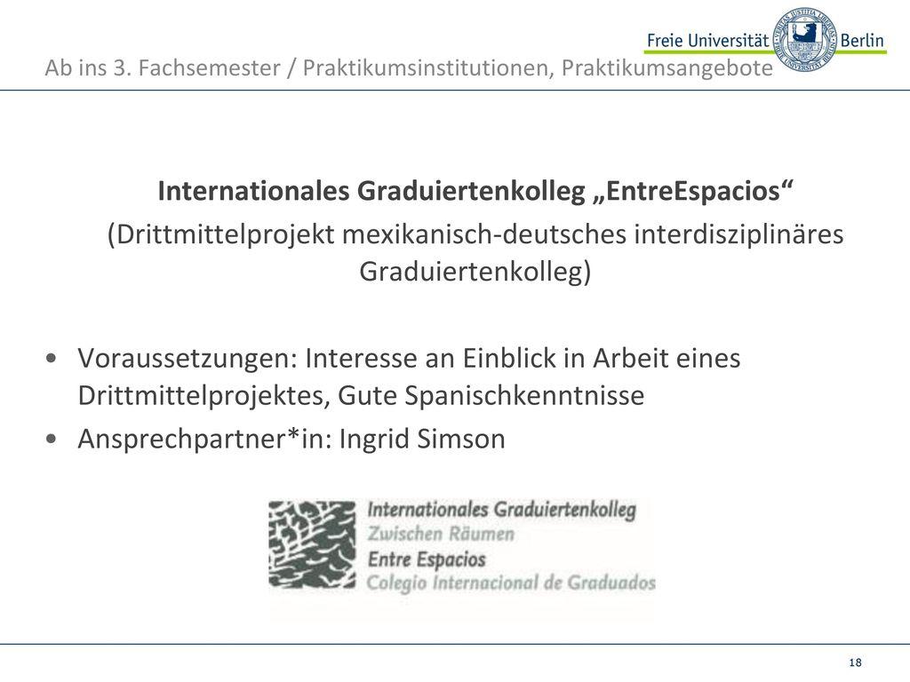 Ab ins 3. Fachsemester / Praktikumsinstitutionen, Praktikumsangebote