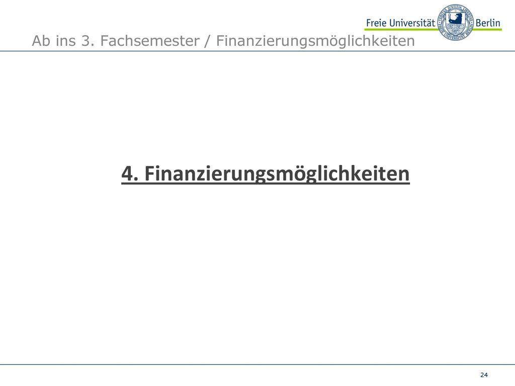 Ab ins 3. Fachsemester / Finanzierungsmöglichkeiten