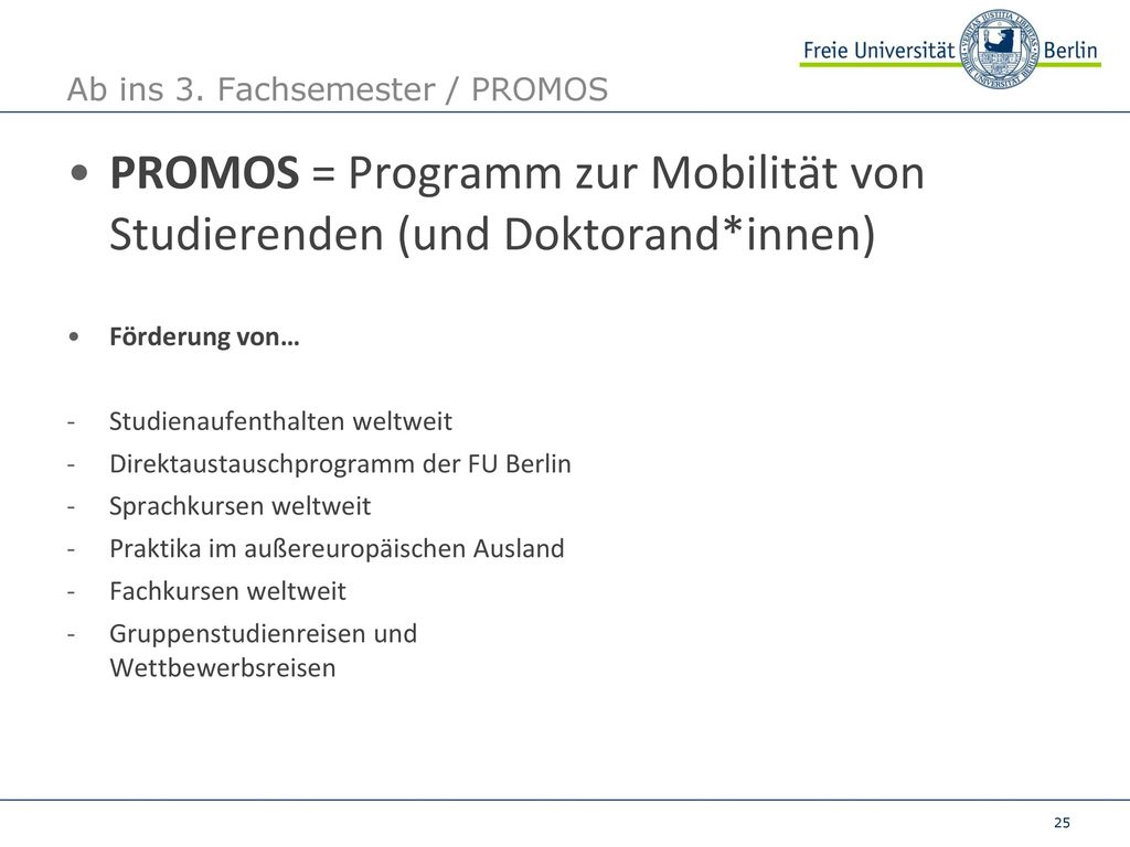 Ab ins 3. Fachsemester / PROMOS