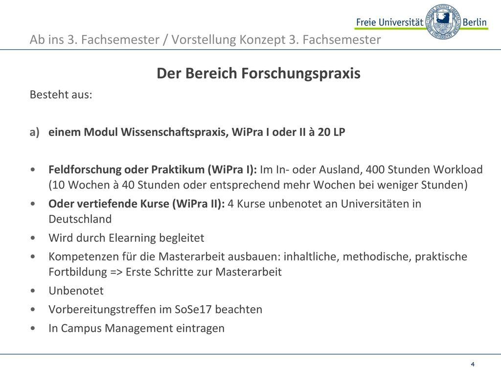 Ab ins 3. Fachsemester / Vorstellung Konzept 3. Fachsemester