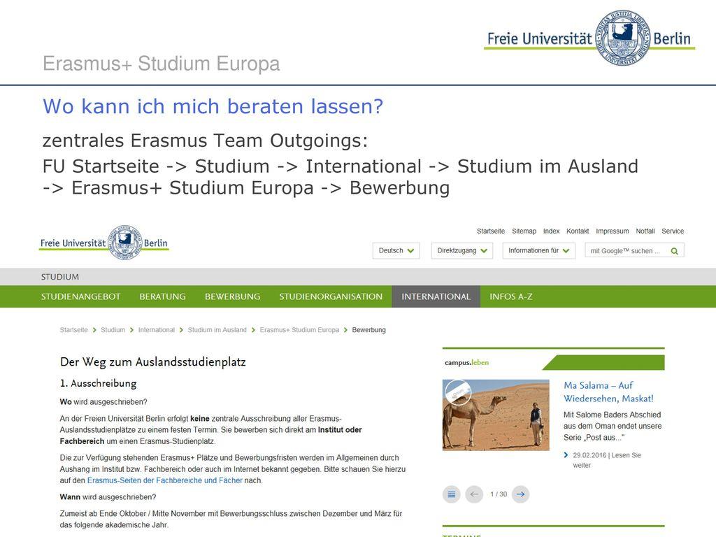 Erasmus+ Studium Europa