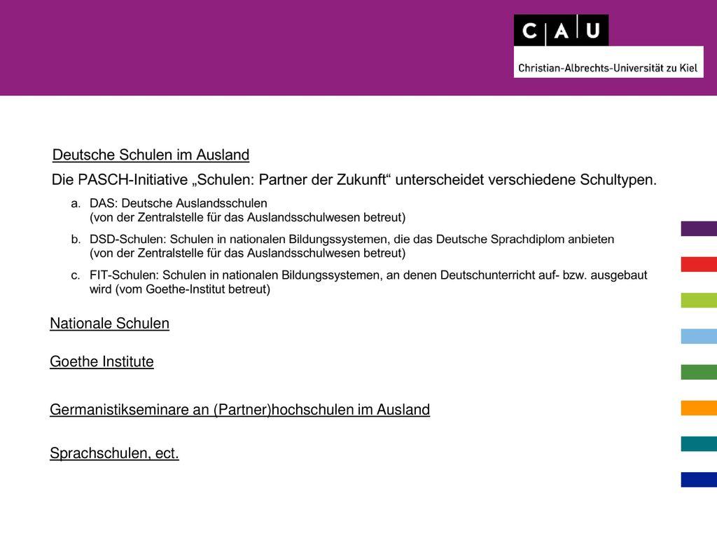 Nationale Schulen Goethe Institute. Germanistikseminare an (Partner)hochschulen im Ausland.