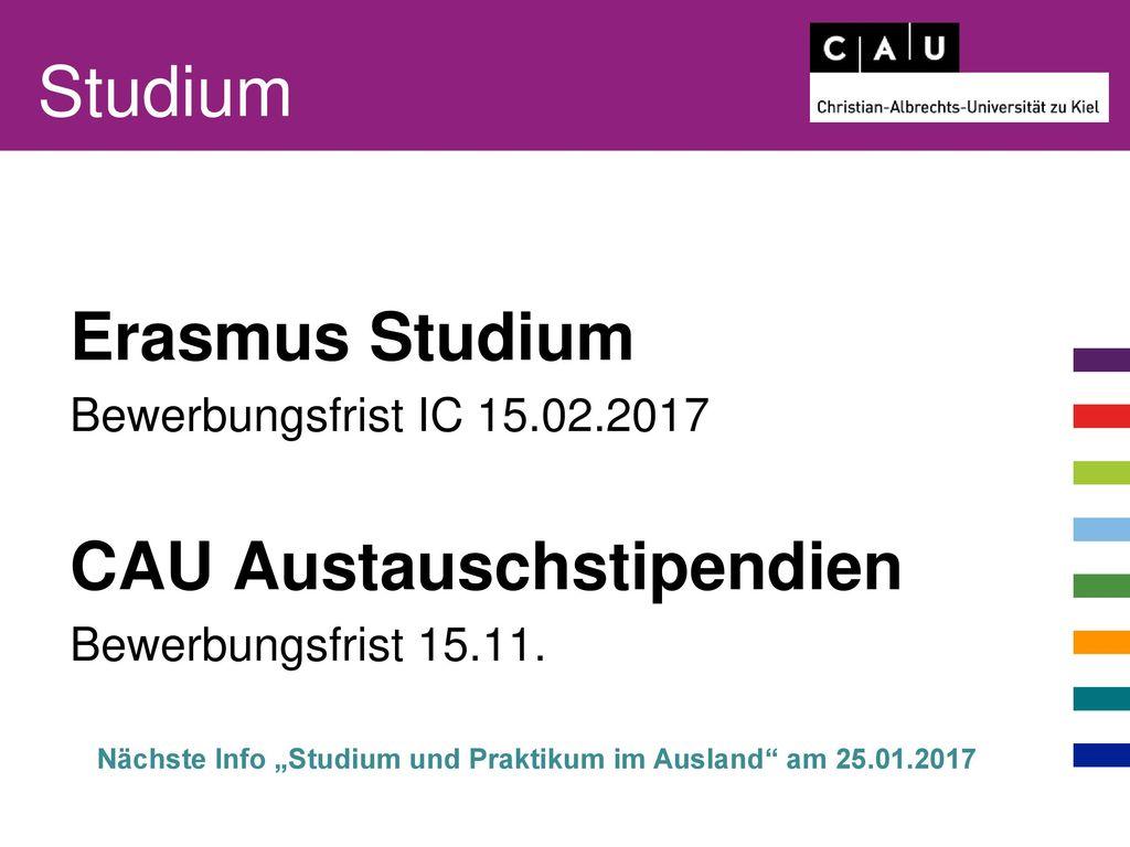 Studium Erasmus Studium CAU Austauschstipendien