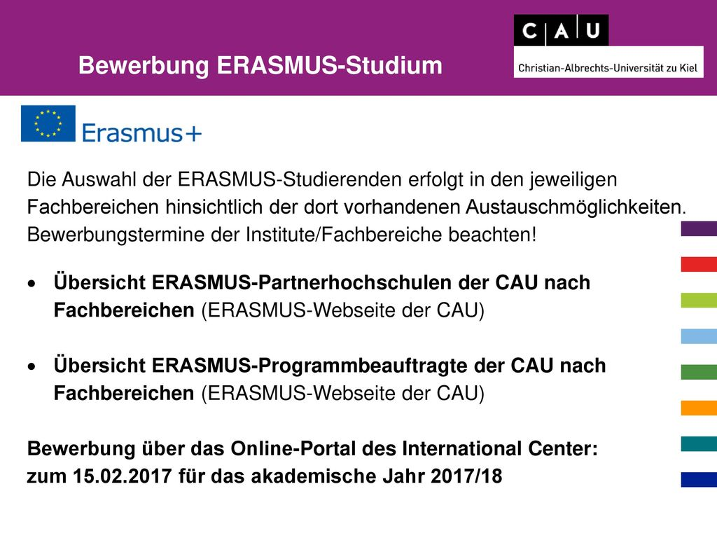 Bewerbung ERASMUS-Studium