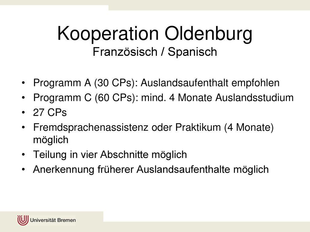 Kooperation Oldenburg Französisch / Spanisch