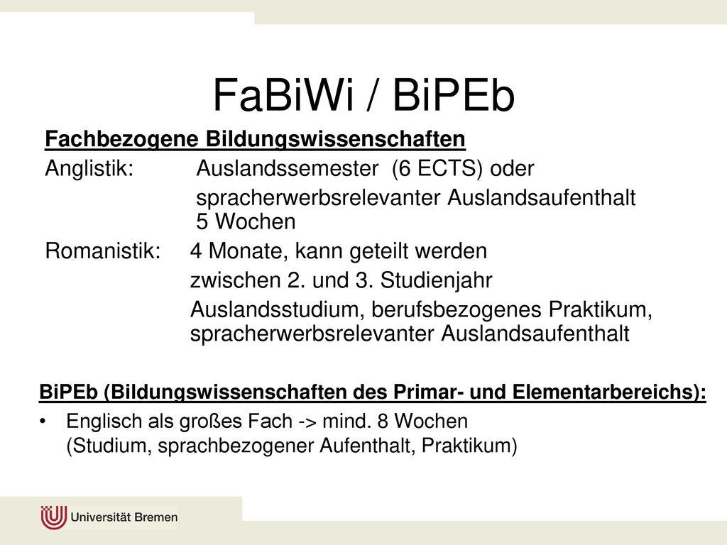 FaBiWi / BiPEb Fachbezogene Bildungswissenschaften