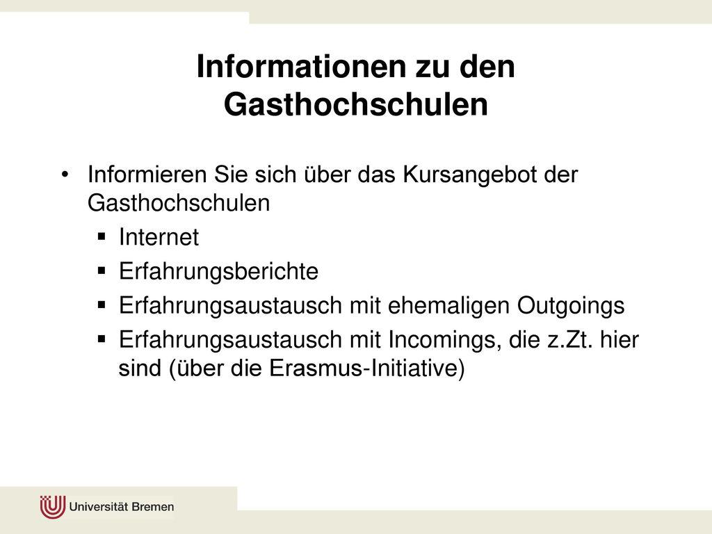 Informationen zu den Gasthochschulen