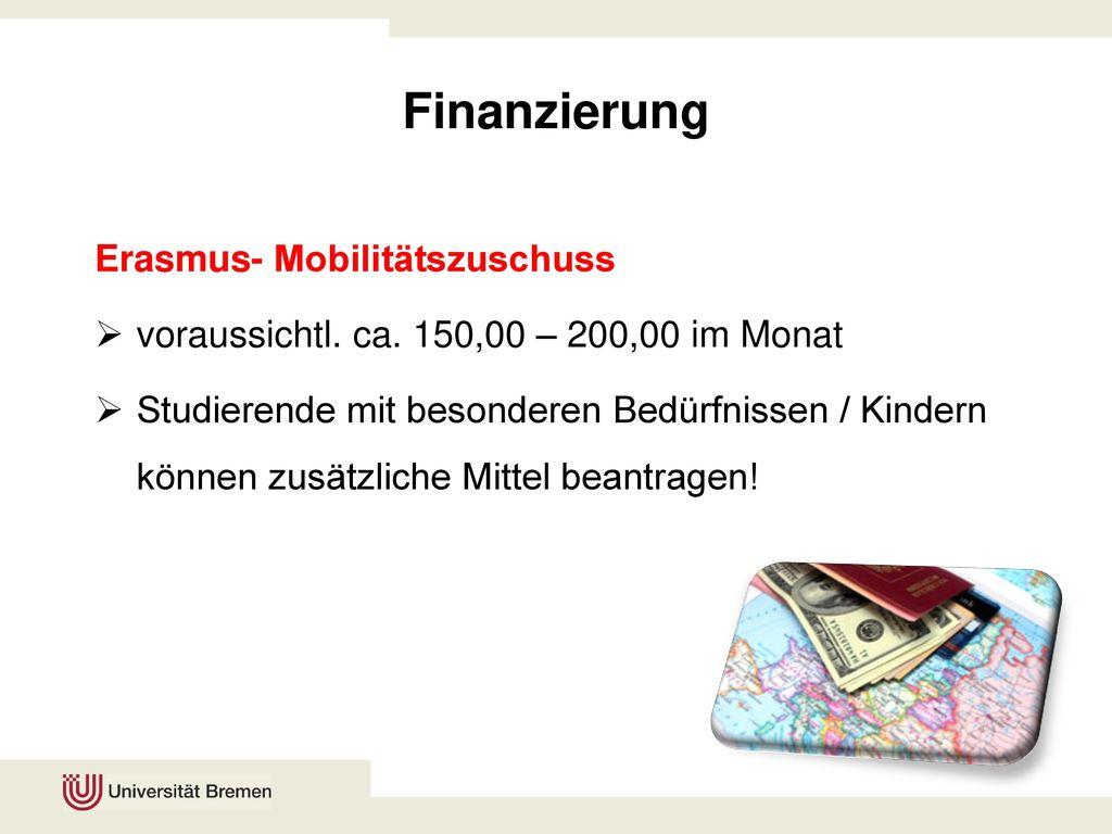 Finanzierung Erasmus- Mobilitätszuschuss