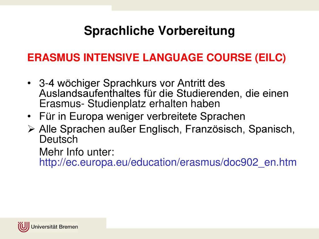 Sprachliche Vorbereitung