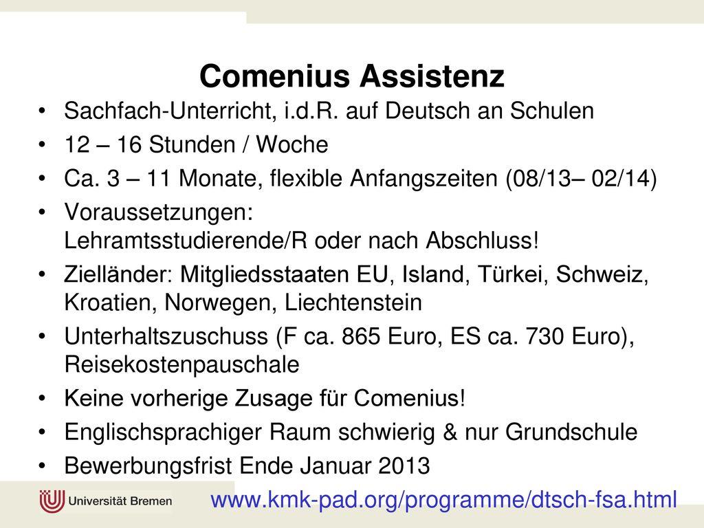 Comenius Assistenz Sachfach-Unterricht, i.d.R. auf Deutsch an Schulen