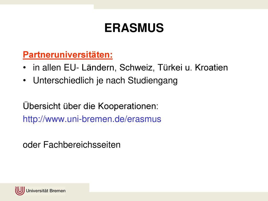 ERASMUS Partneruniversitäten: