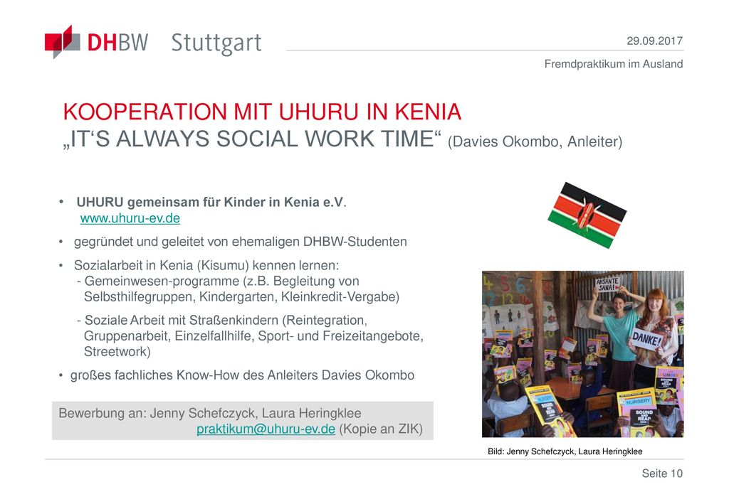 "KOOPERATION MIT UHURU IN KENIA ""IT'S ALWAYS SOCIAL WORK TIME (Davies Okombo, Anleiter)"