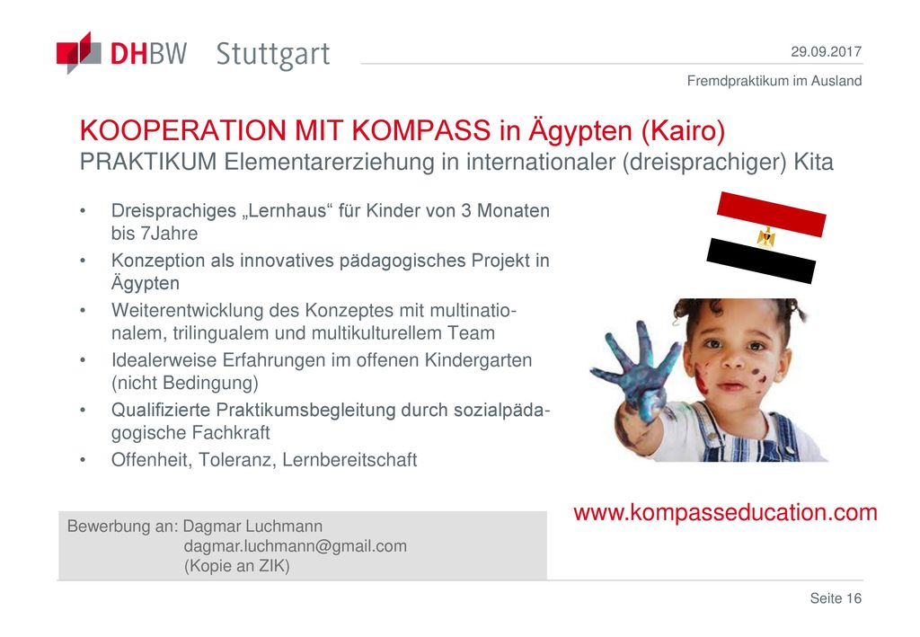 KOOPERATION MIT KOMPASS in Ägypten (Kairo) PRAKTIKUM Elementarerziehung in internationaler (dreisprachiger) Kita.